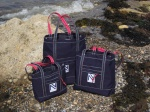 Tote Bags in Navy Blue Acrylic Canvas