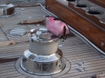 Mylar clam bag on J Class yacht winch