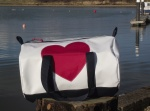 Rain and shine kitbags with red hearts
