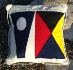 Personalised square cushion with Signal Flags